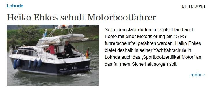 Heiko Ebkes schult Motorbootfahrer